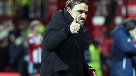 City head coach Daniel Farke gives a full-time thumbs up to fans.