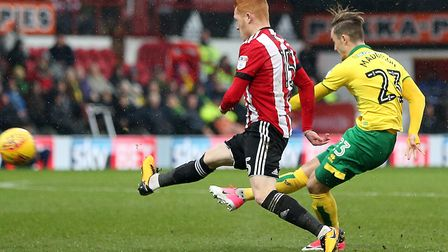 James Maddison curled Norwich City in front with a stunning long range effort at Brentford. Picture: