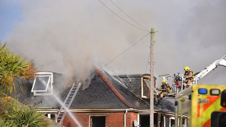 Firefighters tackle a blaze at Addison Road in Gorleston. Photo: Nick Butcher