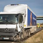 Police at the scene of a serious road traffic collision involving a lorry and a van on the A47 headi