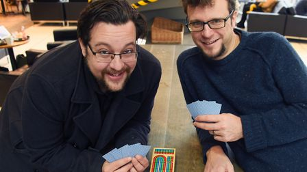 Siv Sears, right, and Richy Newman, play cribbage in readiness for the International Cribbage Day in