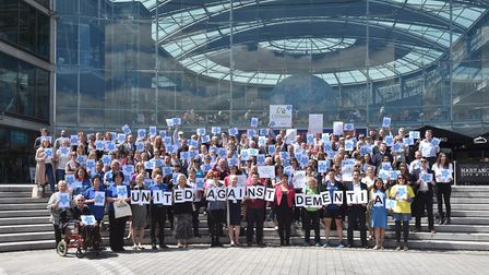 Dementia Friends gather at The Forum in Norwich for National Dementia Week. Picture : ANTONY KELLY