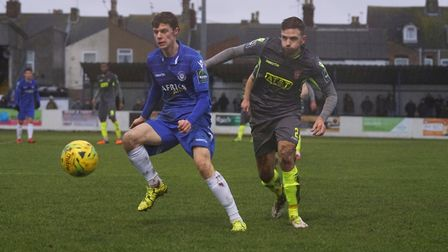 Lowestoft Town's Harvey Hodd in action against Staines Town. Picture: Shirley D Whitlow