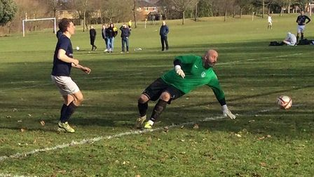 Norwich Sunday League action between AFC Norwich (blue) and Hethersett Athletic Reserves. Picture: S