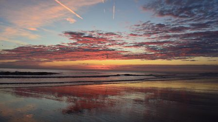 October sunrise in Mundesley. The village is a contender in Chanel 4's Village of the Year competiti