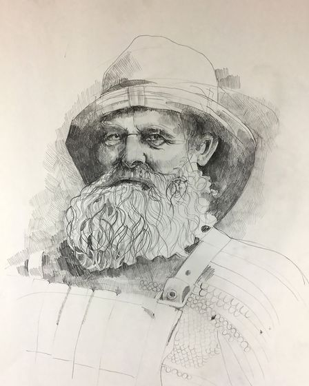 Drawing of a Norfolk fisherman by Rachel Hutchins, whose work will be on show at Sheringham Museum f