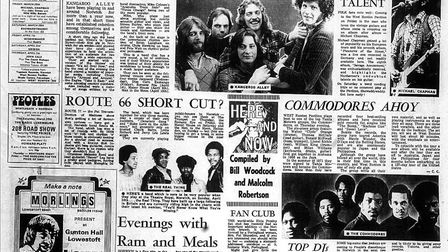 A cutting from the Eastern Evening News, March 21 1977 ahead of the Commodores gig at West Runton. P
