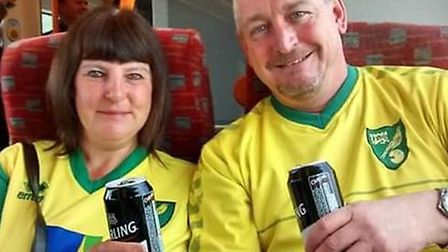 Norwich City fan Michelle Dack and her partner Ian Mitton. Picture submitted.