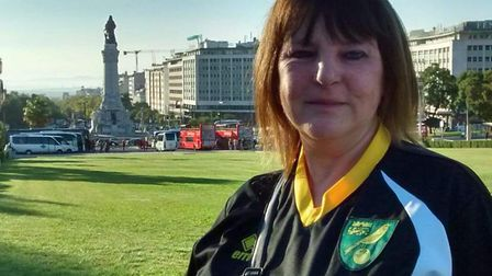 Norwich City fan Michelle Dack in Lisbon. Picture submitted.