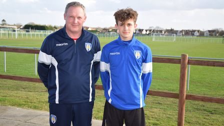 Harvey Sayer, with Sean Thacker, who is Head of Coaching at Colchester United's Academy. Picture: Su
