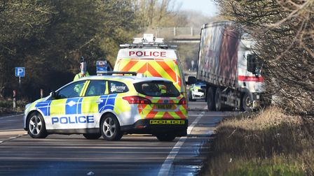 The A47 is closed at Scarning after a serious crash involving two lorries. Picture: Ian Burt