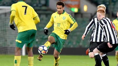 Isak Thorvaldsson in action for Norwich City U18s during their 4-3 extra-time win over Newcastle in