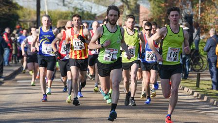 Dominic Blake leads from the front at the Valentine 10K. Picture: Ian Edwards Photography