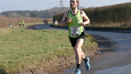 Dominic Blake ahead of the rest of the field at the Valentine 10K. Picture: Ian Edwards Photography