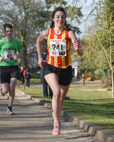 Eleanor Grubb on her way to victory at the Valentine 10K. Picture: Ian Edwards Photography