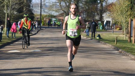 Dominic Blake on his way to victory at the Valentine 10K. Picture: Ian Edwards Photography