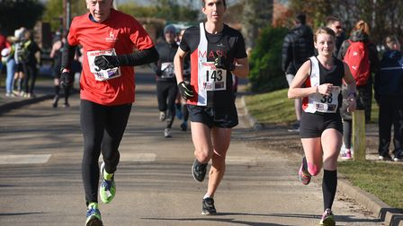 Runners come down the home straight at the Valentine 10K. Picture: Ian Edwards Photography
