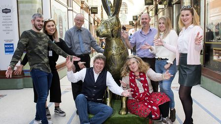 Sponsors of the Royal Arcade hare with the lastest creation for the GoGoHare art trail.Picture: Nick