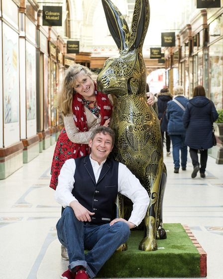GoGoHare artists Fiona Muller and Tim Edwards with the latest creation to be installed inside the Ro
