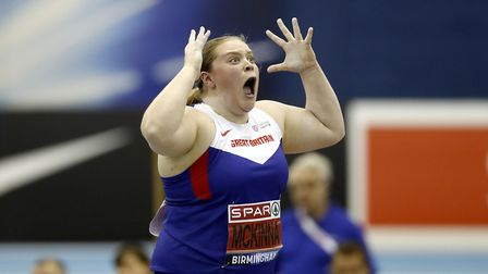 Sophie McKinna reacts during the shot put in Birmingham. Picture: PA