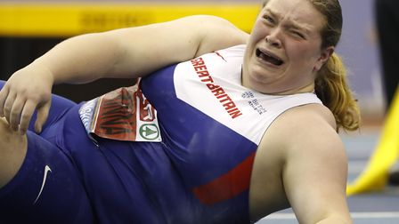 Sophie McKinna reacts after a thow. Picture: PA