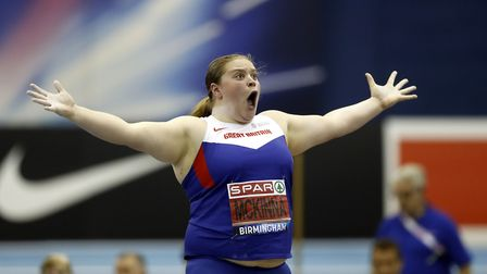 Sophie McKinna can't believe her throw in Birmingham. Picture: PA