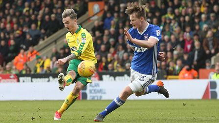James Maddison tries his luck at Carrow Road yesterday. Picture: Paul Chesterton/Focus Images