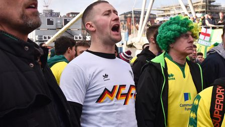 Fans ahead of the NCFC v Ipswich Derby Byline: Sonya DuncanCopyright: Archant 2018