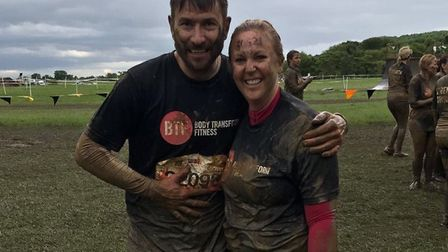 Sophie Baker at the end of Tough Mudder with her boyfriend, Paul. Picture: Broadland District Counci