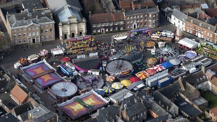 Aerial view of The Mart funfair in King's Lynn. Picture: John Fielding