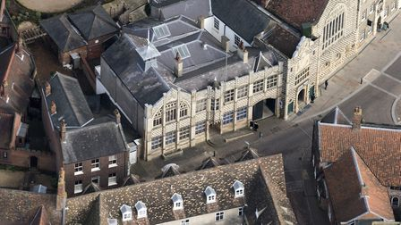 Aerial view of the town hall in King's Lynn. Picture: John Fielding