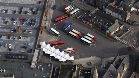 Aerial view of the bus station in King's Lynn. Picture: John Fielding