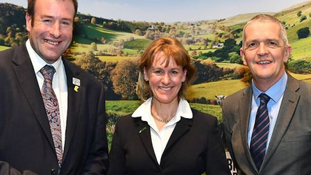 The NFU's newly-elected officeholder team. From left, vice president Stuart Roberts, president Minet