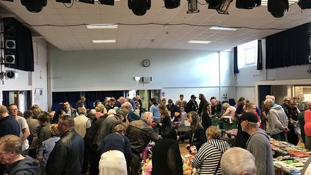 The school hall busy with bargain hunters at a previous sale. Photo: Flegg High School