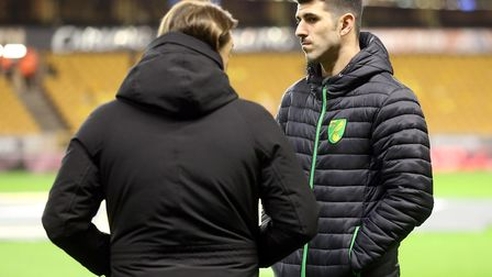 Norwich head coach Daniel Farke and Nelson Oliveira of Norwich before the Sky Bet Championship match