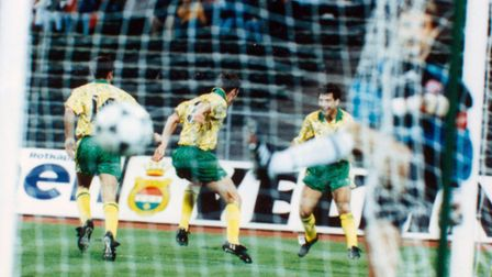 Mark Bowen celebrates his goal against Bayern Munich at the Olympic Stadium. Picture: Archant librar