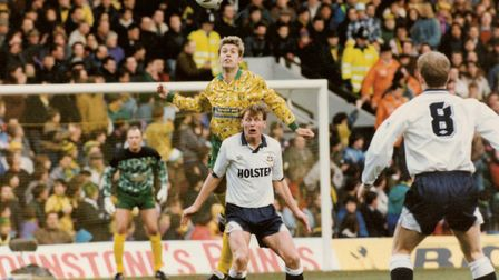John Polston clears the lines ahead of Teddy Sheringham and Gordon Durie (No.8) of Tottenham in an F