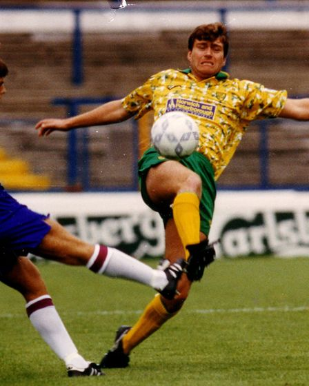 Rob Newman in action for Norwich City against Sheffield Wednesday in September 1992. Picture: Archan