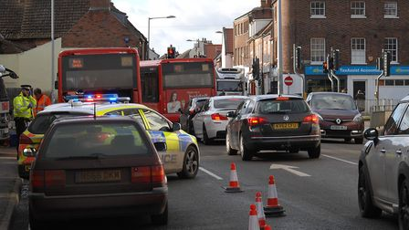 The crash involving a bus and two cars, which partially-blocked Littleport Street in King's Lynn. Pi