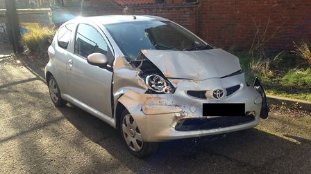 One of the vehicles involved in the collision in Littleport Street, King's Lynn. Picture: Archant