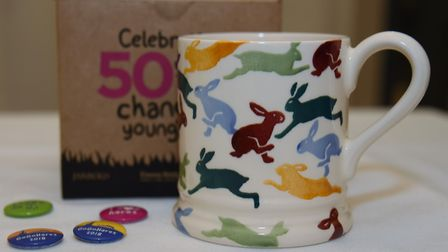 The GoGoHares mug by Emma Bridgewater and button badges. Picture: DENISE BRADLEY