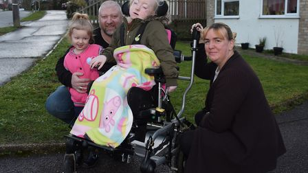 Bethany Smith, seven, who is desperate to have an electric wheelchair she can drive herself rather t