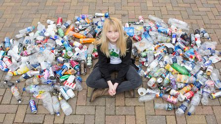 Hellesdon High School pupil Nadia Sparkes with some of the rubbish she has collected. Photo: Paula S
