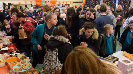 Children and staff at Sprowston Infant School at the fundraiser in aid of pupil four-year-old Sophie