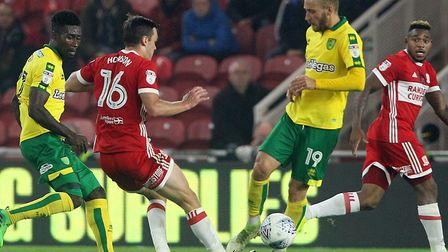 Tom Trybull tussles for the ball with Jonny Howson at the Riverside earlier this season. Picture: P