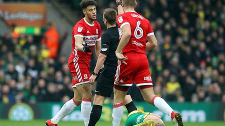 Boro striker Rudy Gested was sent off for a poor tackle on Grant Hanley in the 28th minute at Carrow