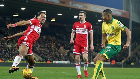 Onel Hernandez cuts the ball across goal on his brief Norwich City debut from the bench against Midd