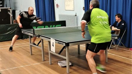 Andy Hawes, left, takes on Stuart Laws. Picture: James Ashworth