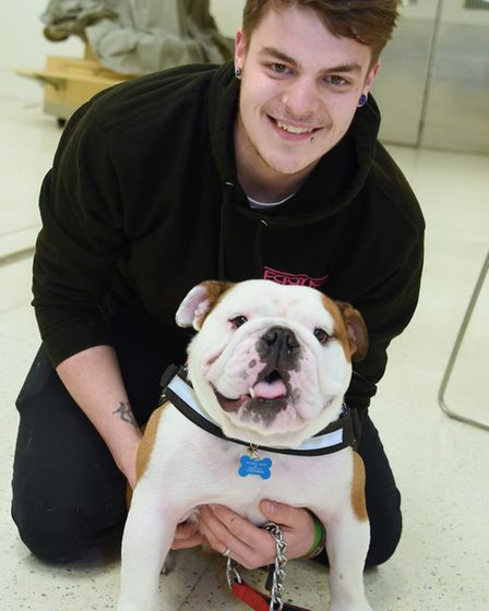 Bulldog Dr Watson taking part in the doggy auditions for Legally Blonde at the Theatre Royal, with o