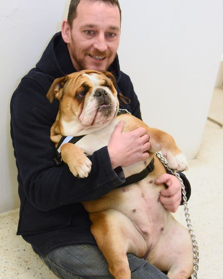 Jonathan Litson relaxes with Ellie during the doggy auditions for Legally Blonde at the Theatre Roya